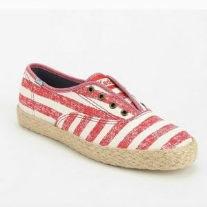 Keds Red & White Espadrille Sneakers